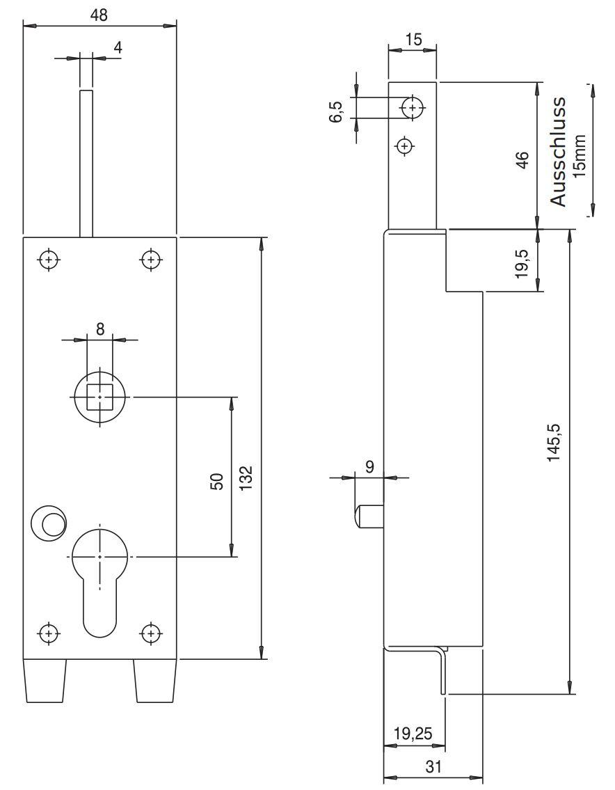 Garagentorschloss nach oben schließend 8102 – Bild 5