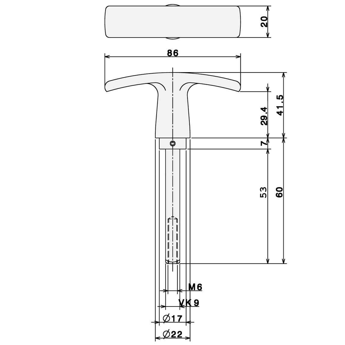 Garagentorgriff Leichtmetall F1 9x60 Griff Garagentor
