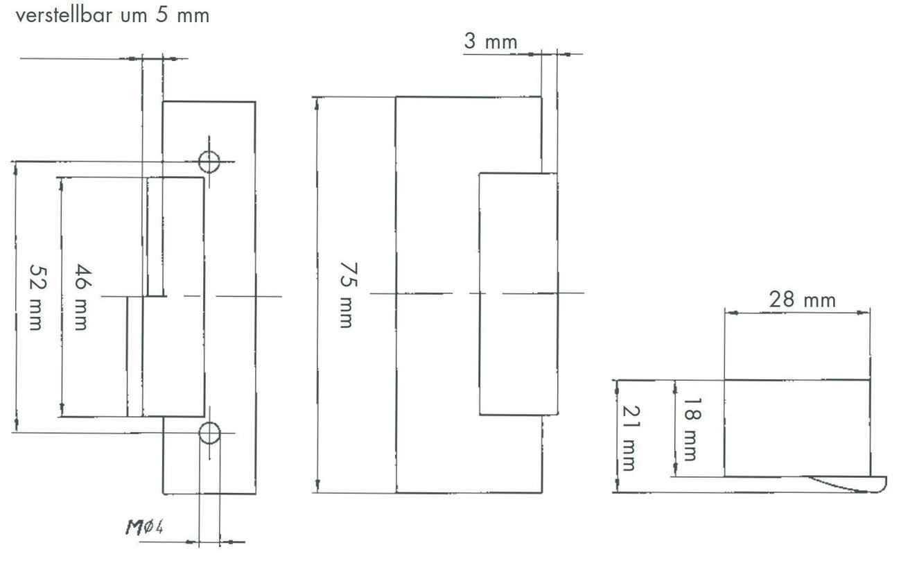 Elektrischer Türöffner Peso 351 L mit Winkelblech Links, 6 - 12 Volt – Bild 5