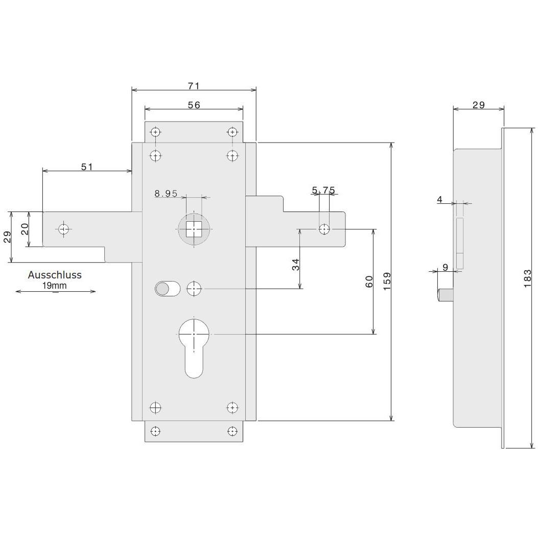 Garagentorschloss seitlich schließend Nemef 1846/02 mit 29mm Kastendicke – Bild 2