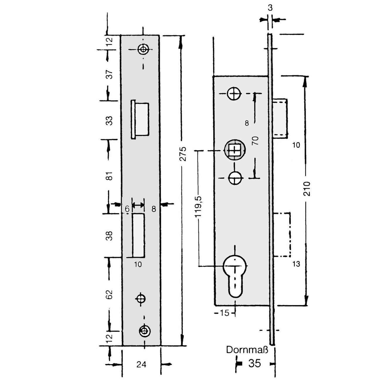 Rohrrahmenschloss Entfernung 119,5mm Giesche W1 mit Edelstahl-Stulp 24 x 275 – Bild 2