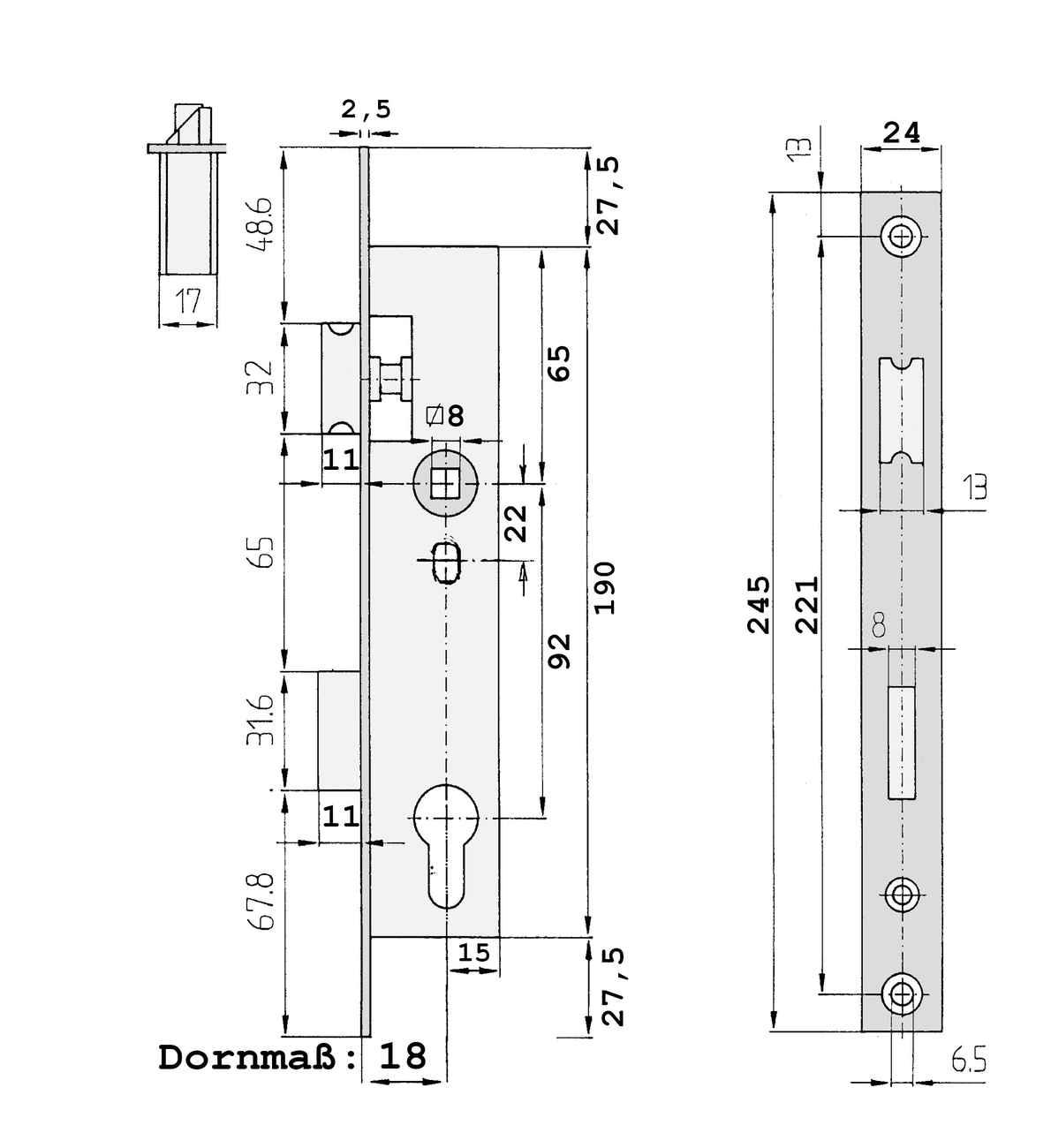 Rohrrahmenschloss 1004E mit Edelstahlstulpe - 245 x 24 / 92 / 8 – Bild 3