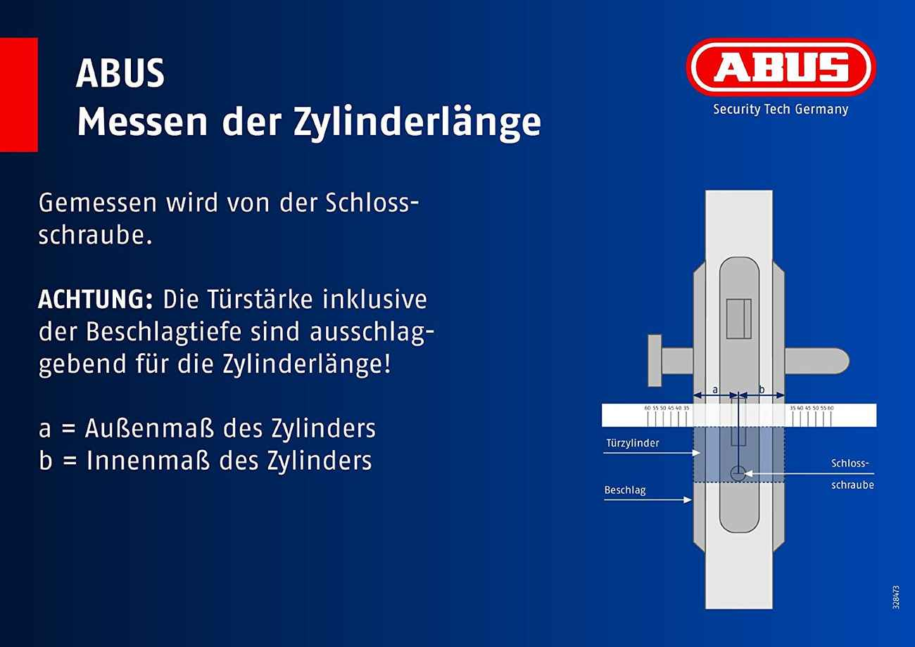 Abus Profilzylinder D6X 28/34 mm, 5 Schlüssel, Codekarte – Bild 2