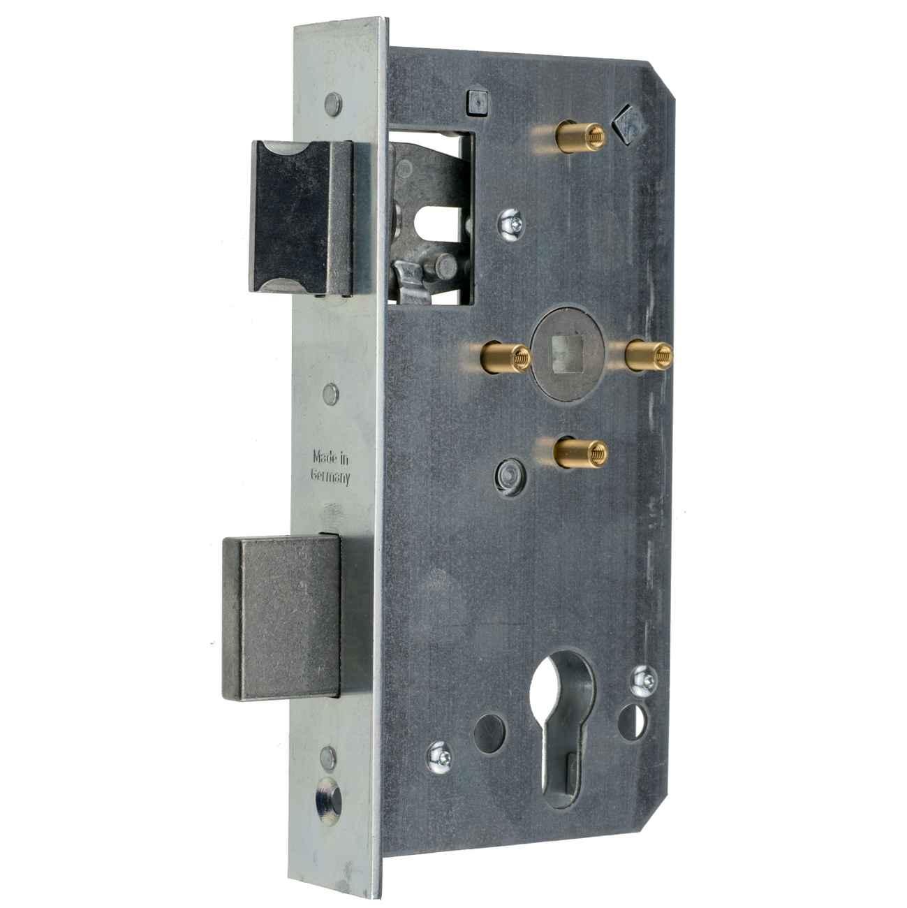 Ersatz-Metalltorschloss mit Stulpe 33x179 mm für 40mm Schlosskästen, Dornmaß 55 Entfernung 72, 4 Messinghülsen