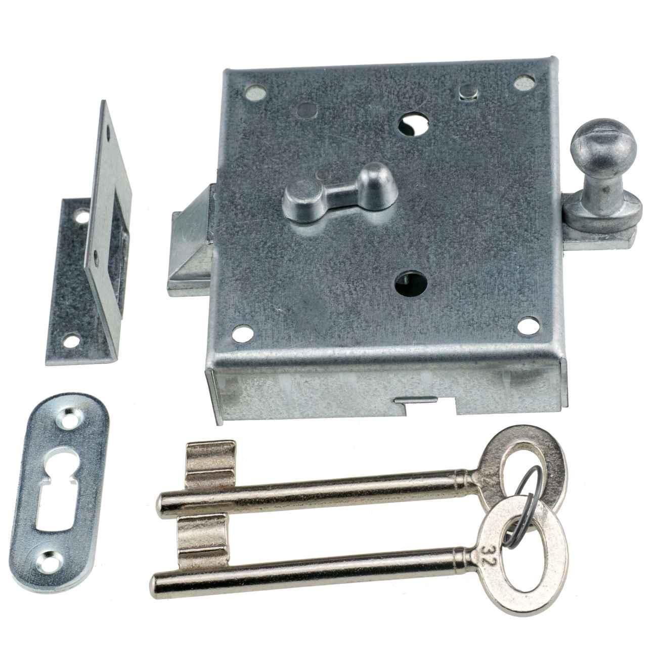 Knopffallenschloss 48 mm Dornmaß 932U - Schnappriegelschloss mit 2 Schlüsseln – Bild 1