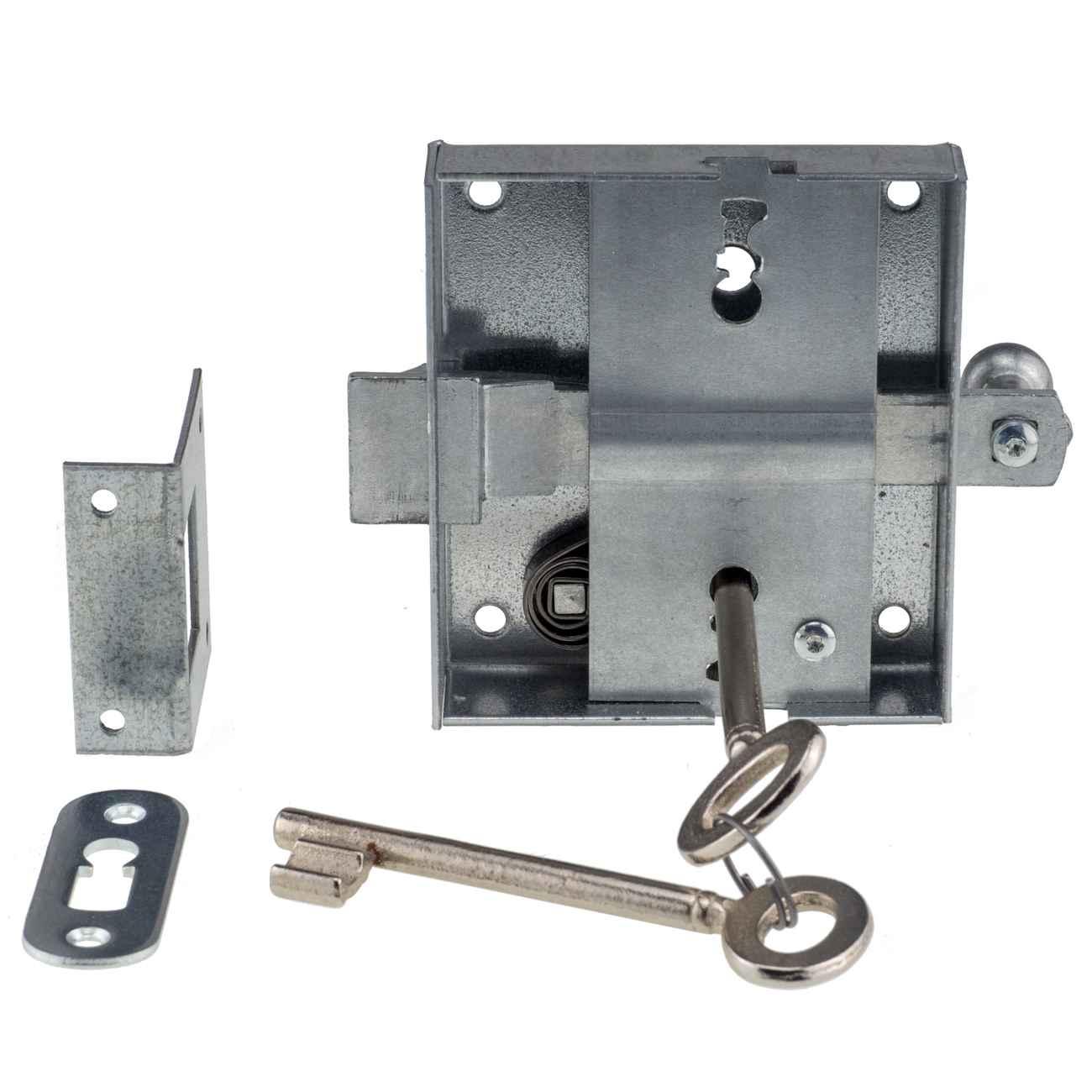 Knopffallenschloss 48 mm Dornmaß 932U - Schnappriegelschloss mit 2 Schlüsseln – Bild 2