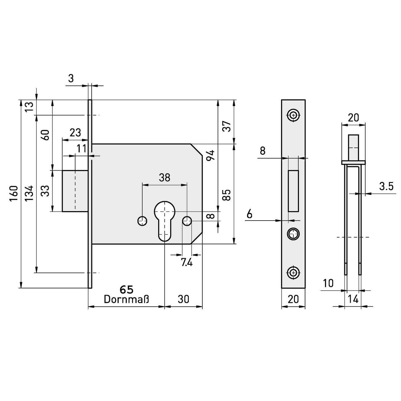 Einsteckriegelschloss PZ Edelstahl-Stulp 20 x 160 mm Dornmaß 65 – Bild 3