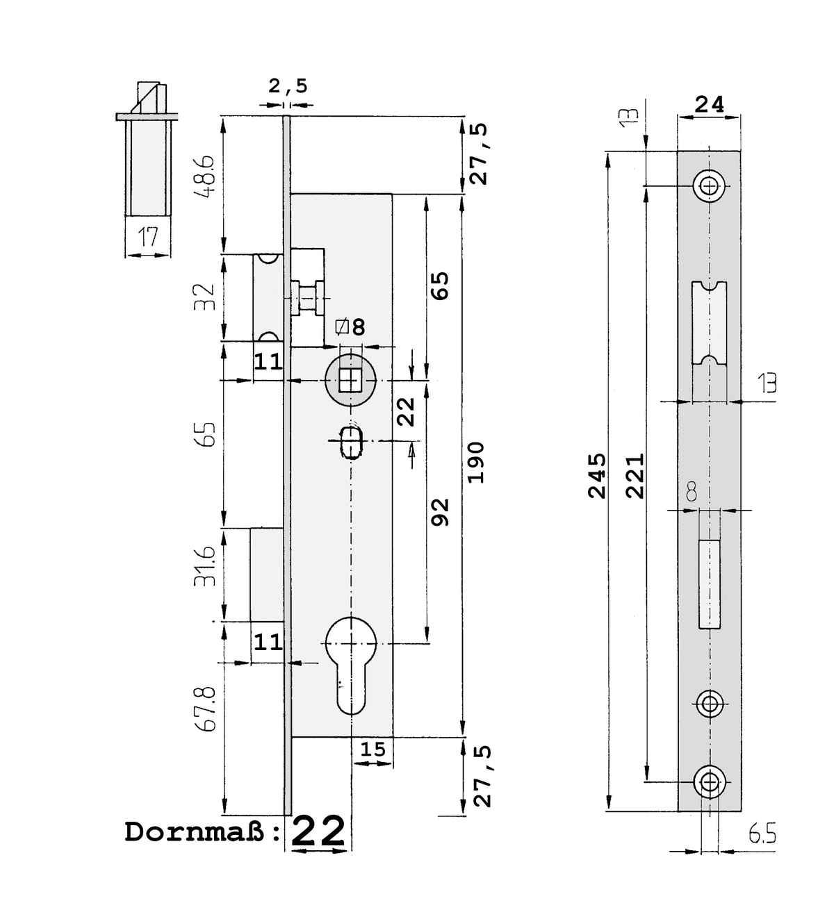 Rohrrahmenschloss Entfernung 92, Edelstahlstulp 24 x 245 und 5 mm vorstehender Falle und Riegel – Bild 6
